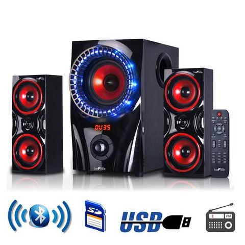beFree Sound 2.1 Channel Bluetooth Surround Sound Speaker System in Red