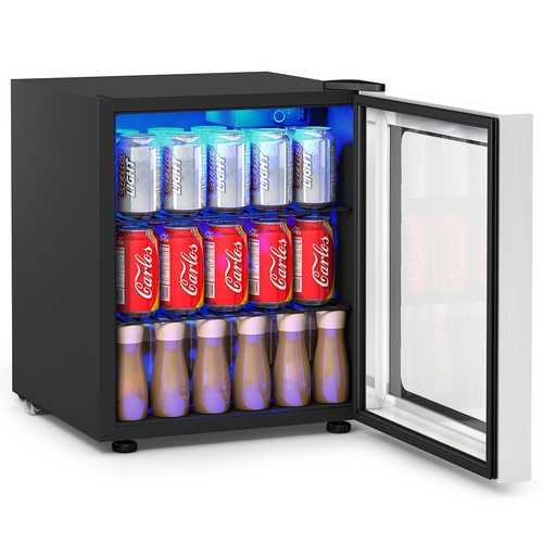 60 Can Beverage Mini  Refrigerator with Glass Door