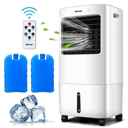 Evaporative Portable Air Cooler Fan w/ Remote Control-White