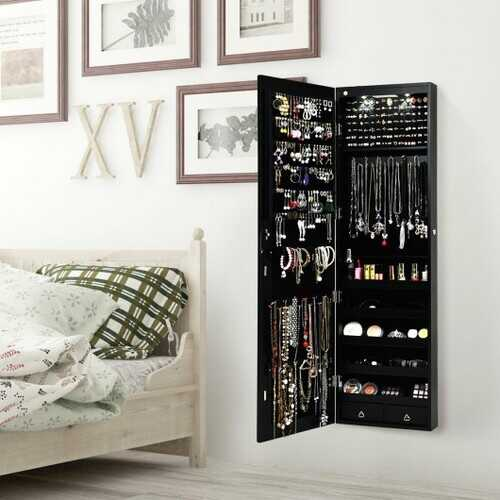 Wall and Door Mounted Mirrored Jewelry Cabinet with Lights-Black