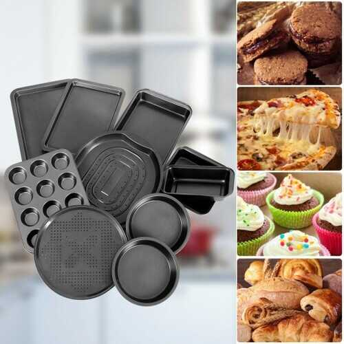 10 Pcs Nonstick Bakeware Set Baking Roasting Cake Pans