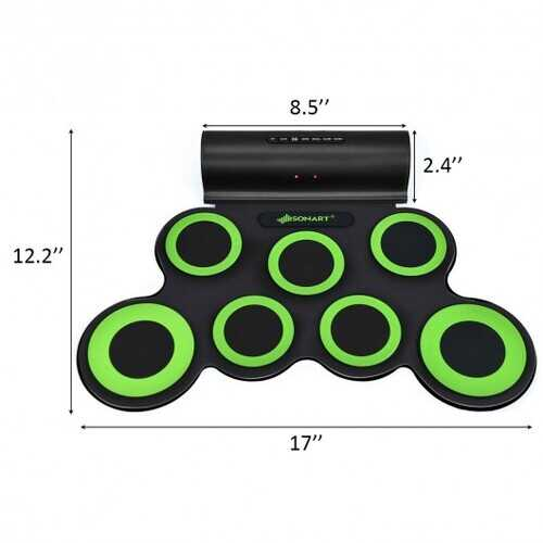 Set 7 Kit Electronic Roll Up Pads MIDI Drum -Green