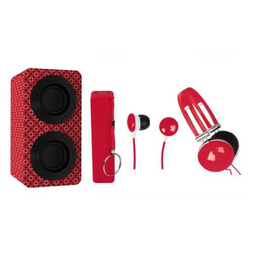 Naxa Portable Bluetooth Stereo Speakers Entertainment Pack-Red