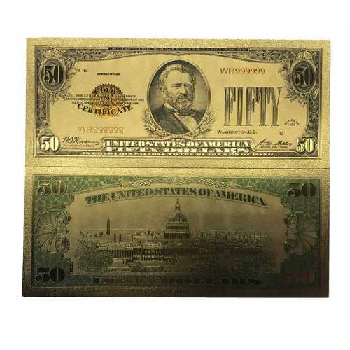50 American Dollar Bill 24k Gold Art Collectibles Plated Fake Banknote Currency for Decoration