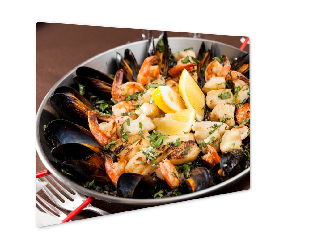 Metal Panel Print, Barcelonseafood Paellin Fry Pan