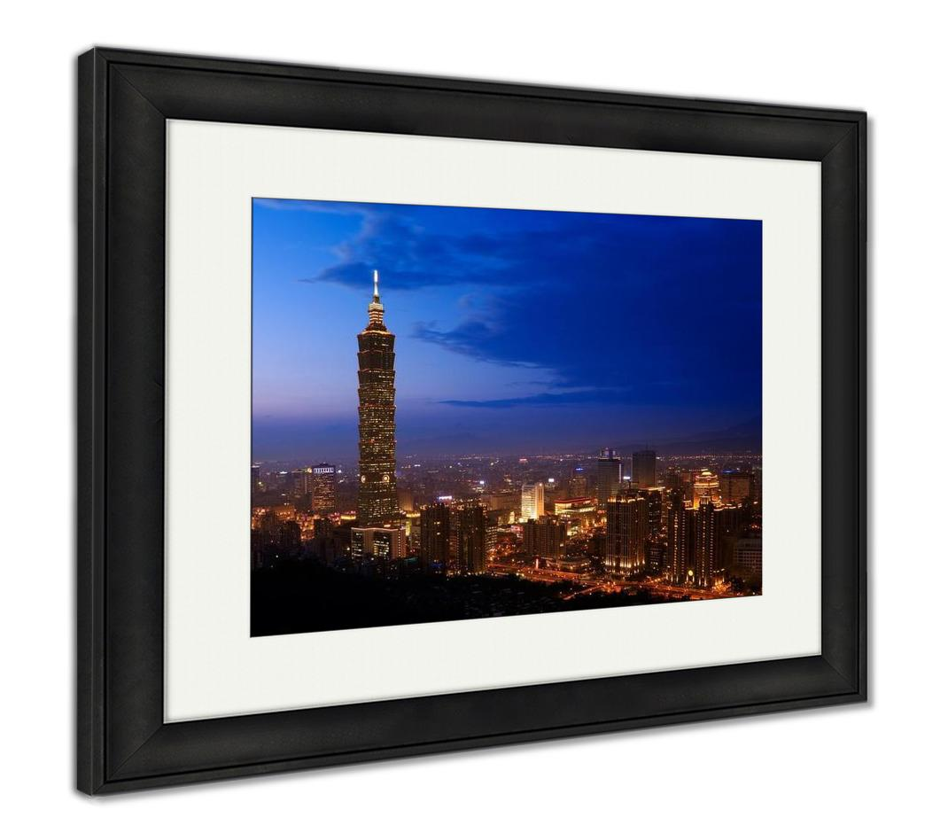 Framed Print, Golden Taipei 101
