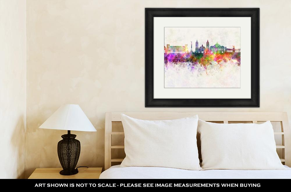 Framed Print, Mexico City V2 Skyline In Watercolor