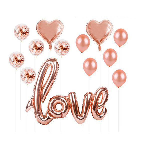 Rose Gold Foil 13 Piece ballon pack to pumper up your gift box