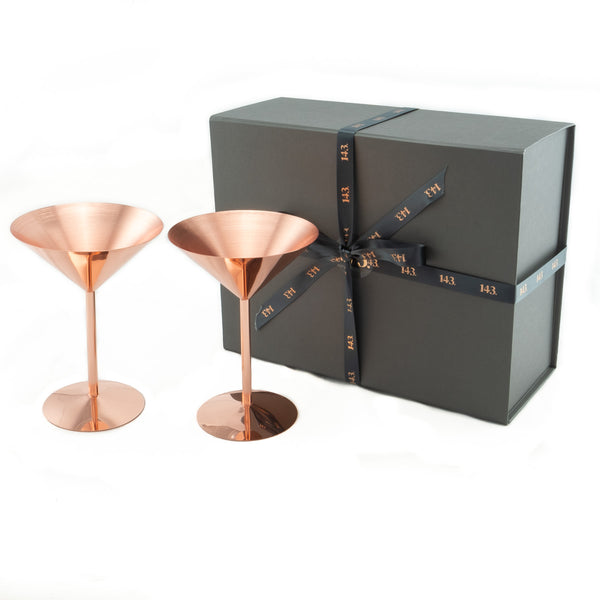 Two luxurious martini glasses come wrapped in classy gift box
