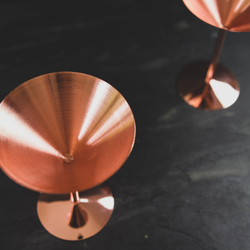 Copper Martini Glass - Glassware showing beautiful distinctive design
