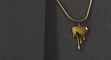 Dripping Heart Pendant Plated With 18k Yellow Gold
