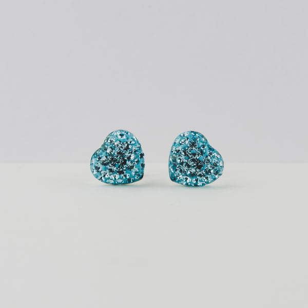 Stering Silver Crystal Heartshaped Stud Earrings - Available in 2 colours