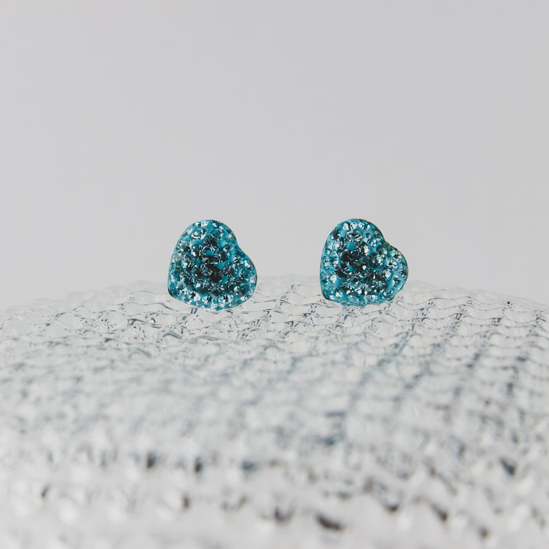 Sterling Silver & Blue Crystal Heart Earrings - Jewellery