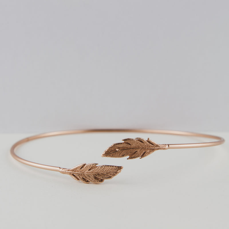 Sterling Silver Feather Cuff Plated With 18k Yellow Gold