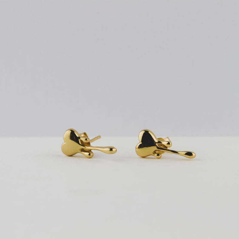 Silver Stud Heart Earrings Plated With 18k Yellow Gold - Jewellery