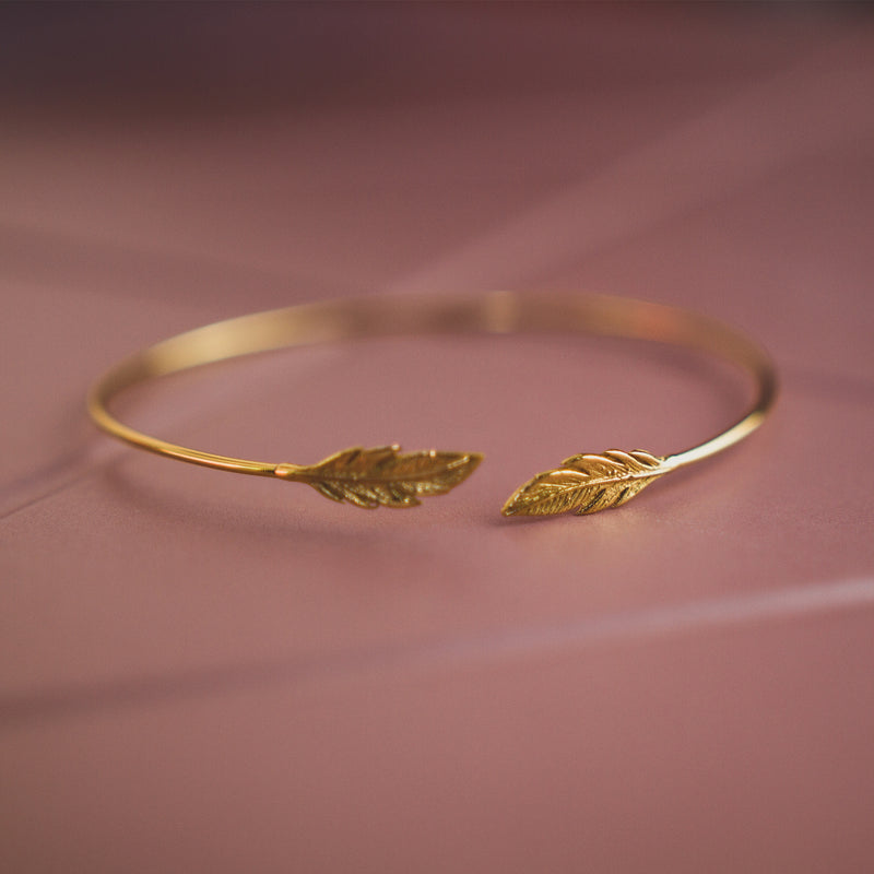 Silver Feather Cuff Plated With 18k Yellow Gold - Jewellery