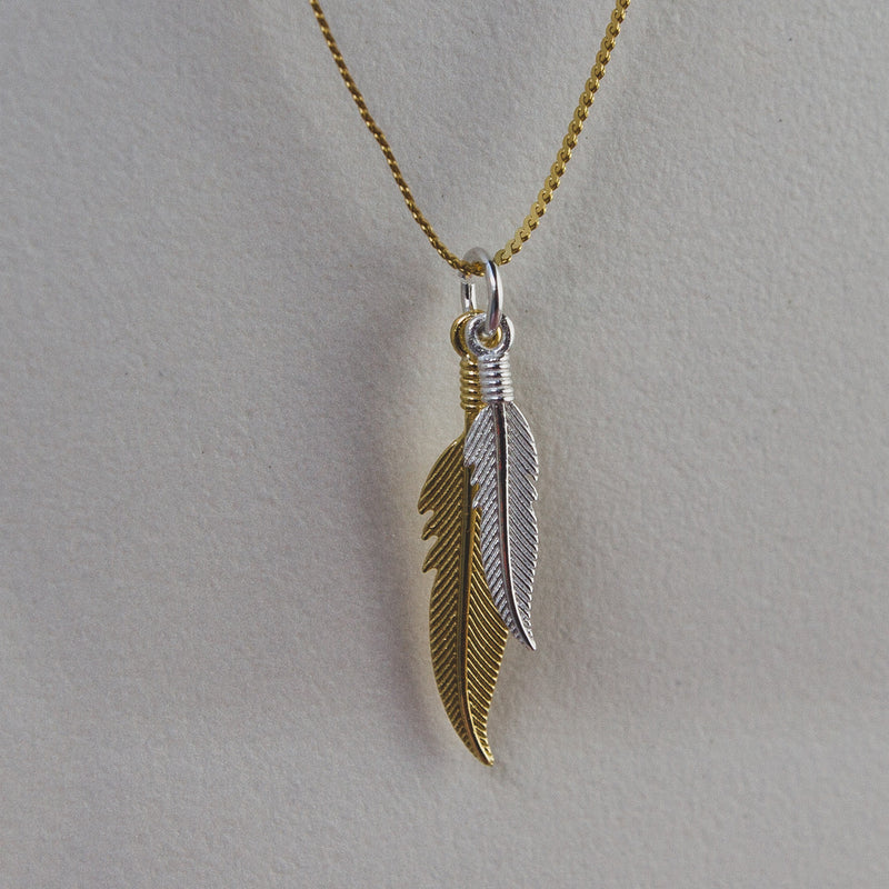 Silver Feather Pendant Plated With 18k Yellow Gold - Jewellery