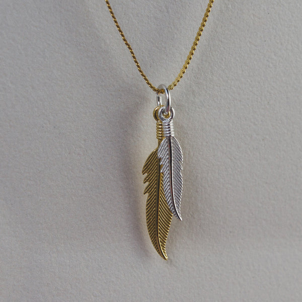 Sterling Silver Double Feather Pendant - Available in 3 colours