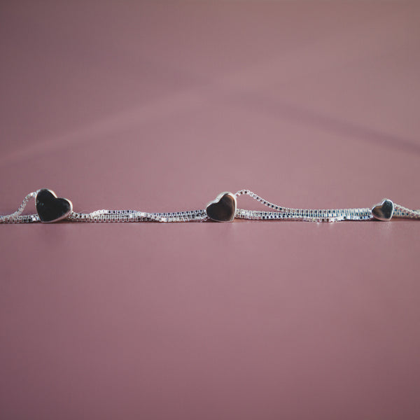 Silver Bracelet With Heart Charms - Jewellery