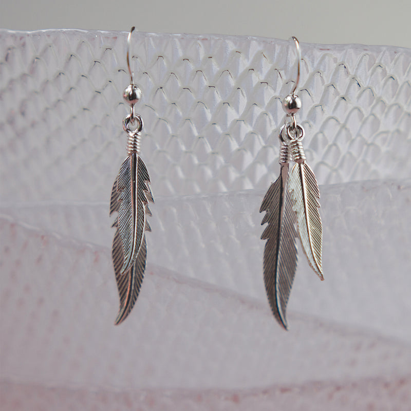 Silver Double Feather Hook Earrings - Jewellery