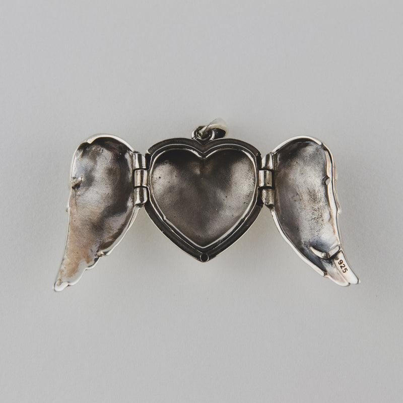 Sterling Silver Oxidised Heart Angel Wings Pendant - Jewellery