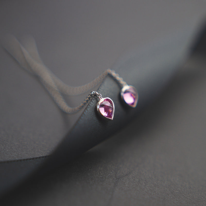 * Pink Stone Pendant Earrings * detail of the Jewellery