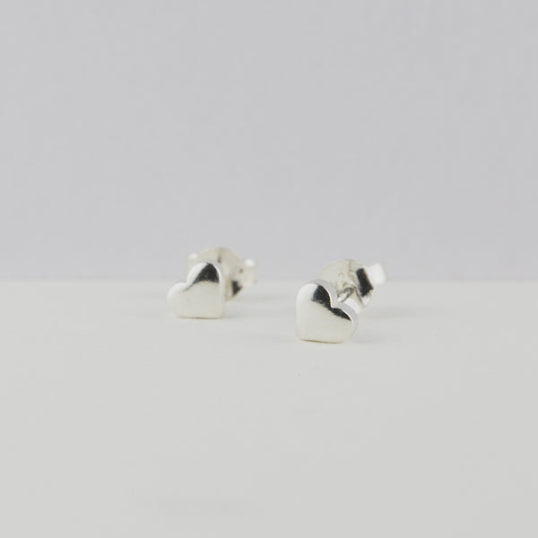 Silver Heart Stud Earrings - Jewellery