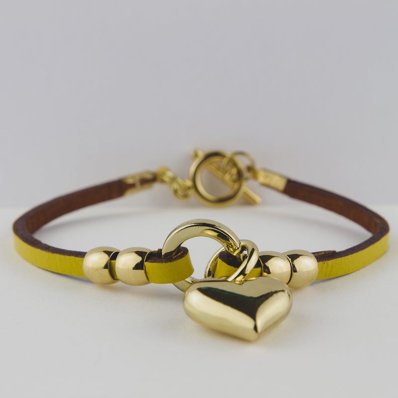 Leather & Yellow Gold Cuff - Jewellery to show your love