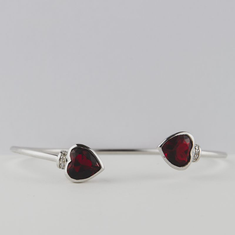 Sterling Silver Heart Cuff Bracelet With Red Heart Detail