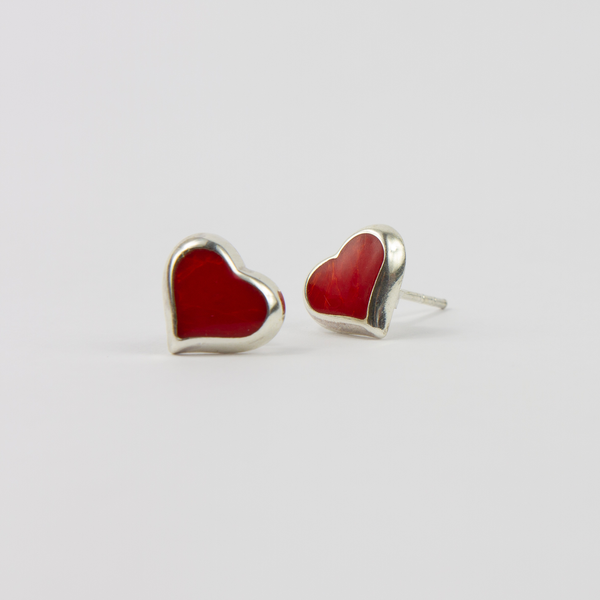 Silver Heart Earrings With Red Stones - Jewellery