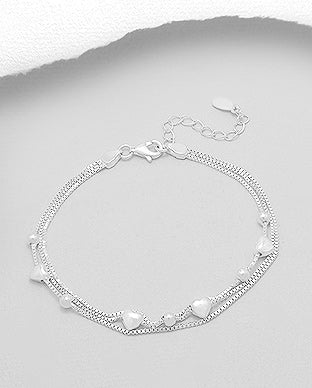 Silver Bracelet With Heart Charms