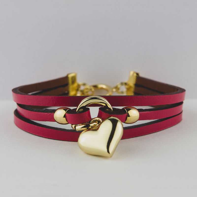 Three Strap Bracelet With Heart Cuff - Jewellery