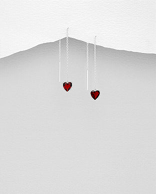 Red Crystal Heart Drop Earrings