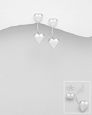 Sterling Silver Heart Illusion Back Drop Earrings
