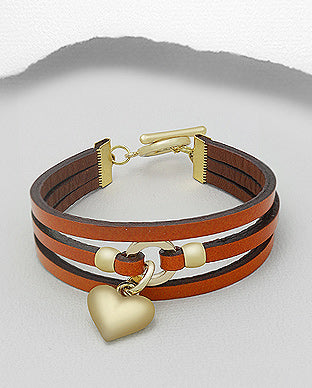 Three Strap Bracelet With Heart Cuff Bracelet - Available in 3 Colours