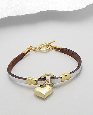 Leather Single Strand Gold Cuff Bracelet - Available in 2 Colours