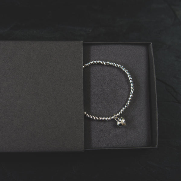 Silver Stretch Ball Beads Bracelet with Heart Charm - Jewellery