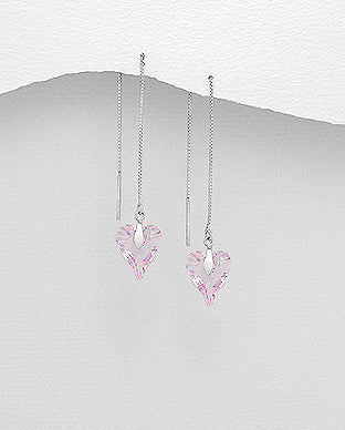 Genuine Swarovski Pendant Threader Drop Earrings - Available in two colours