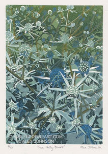 'Sea Holly Blues' - Original Linocut Print