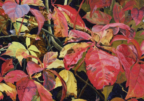 Blazing Glory red leaves wall art acrylic flower painting artist Carole Gaylard