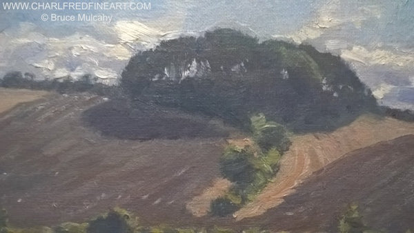 Fields with Hilltop Wood landscape canvas painting detail by Bruce Mulcahy RSMA.