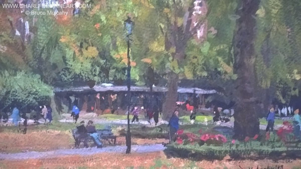 In Russell Square, London cityscape painting by artist Bruce Mulcahy RSMA