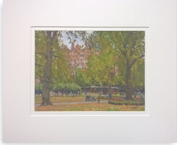 In Russell Square, London - mounted cityscape painting by Bruce Mulcahy RSMA