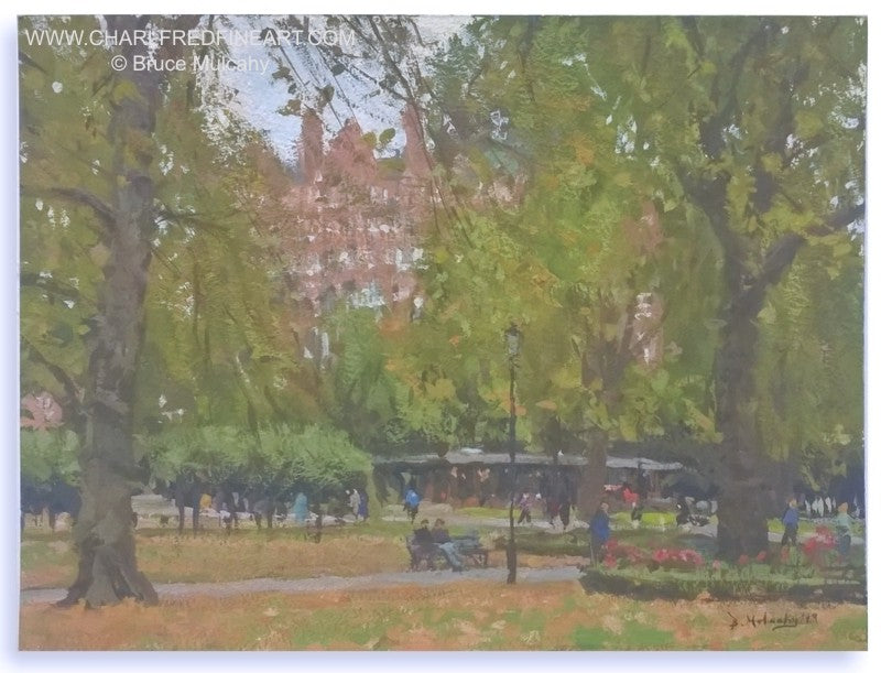 In Russell Square, London cityscape painting by Bruce Mulcahy RSMA