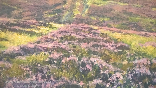Moorland Heather landscape painting detail by Bruce Mulcahy.