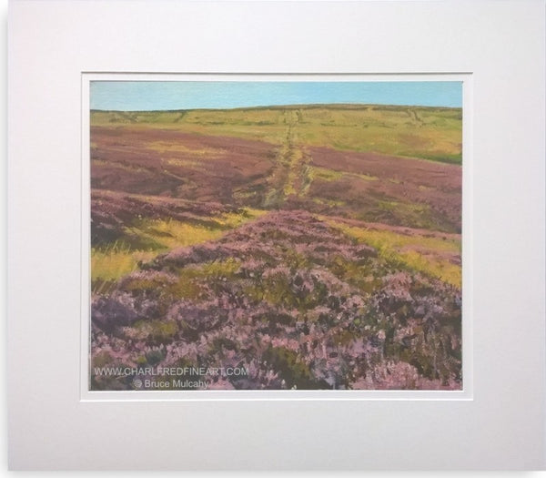Moorland Heather mounted landscape painting by Bruce Mulcahy R.S.M.A