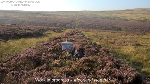 Moorland Heather landscape photo of work in progress by Bruce Mulcahy.