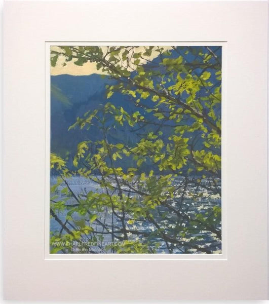 Sunlight Through Trees Lock Eck, Scotland, mounted landscape painting by Bruce Mulcahy RSMA.