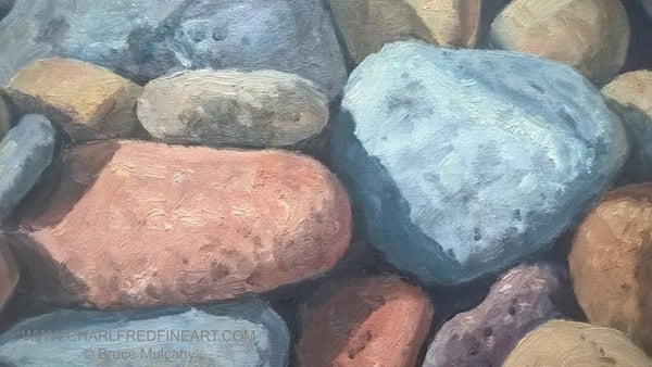 Sunlit Pebbles beach canvas oil painting detail by Bruce Mulcahy RSMA.