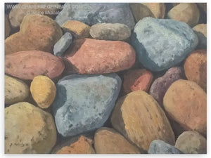 Sunlit Pebbles beach canvas oil painting by Bruce Mulcahy RSMA.